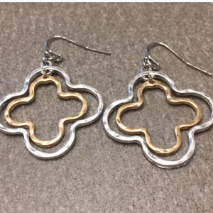 Matte Hammered Silver & Gold Clover Earrings